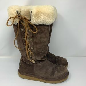 UGG Upside Lace Up Brown Leather Sheepskin Boots